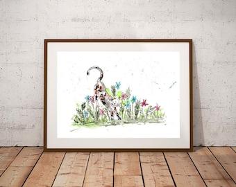 SALE Cat watercolour, PRINT,  watercolour painting, cat lover gift, watercolour animal print, cat illustration, cat art print, cat art