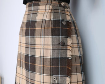 1950s Skirt - Plaid Midi Skirt - Tartan Kilt - Pleated - Fringe - Side Button - Brown Blue Orange Beige - Size Extra Small Waist 25""