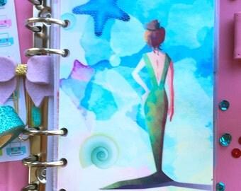 Personal Filofax Planner Dashboard, Mermaid Planner Dashboard, Watercolour Personal Size Planner Divider, Medium Kikki K Planner Accessories