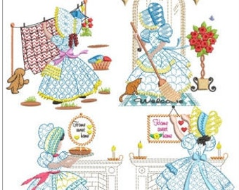 "Blue bonnet girls machine embroidery download  4 designs pack( size 6x6"")"