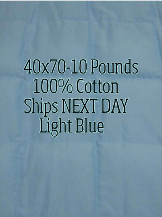 Weighted Blanket, 10 Pound, Light Blue, 40x70, READY TO SHIP, Twin Size, Adult Weighted Blanket, Next Business Day To Ship