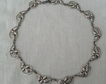 Vintage, Danecraft, sterling silver, acorn and oak leaf motif necklace, 1945-1955