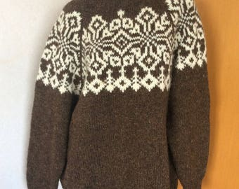 Handknitted Danish Danspin Pure Wool Sweater nordic motif Winter Ski pullover, natural wool colors Made in Denmark