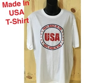 100% Made in USA Red and Blue Distressed Bella Canvas Made in USA White T-Shirt / MURICA / Fourth of July / Made in America /
