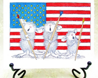 Patriotic Mice Card: Add a Greeting or Leave Blank