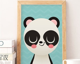 Panda art, Tiger Panda print, Animals nursery art, Cute animals, Cute art prints, Baby room decor, Cute panda, Kids room decor, Panda decor