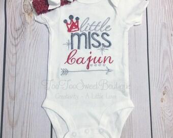 Little miss cajun, cajun, kajun, LA louisiana onesie, Baby Girls Onesie, infant onsie, saying onesie, onsie, red crown, red, newborn onesie,