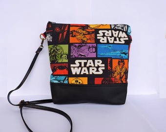 Star Wars Bag, crossbody bag, Small Bag,Faux leather Bag,Fabric Bag,Shoulder bag,Black crossbody bag,Star Wars fabric,Star wars shoulder bag