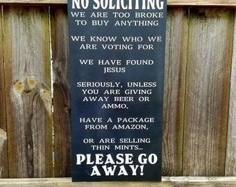No Soliciting Sign - Funny No Soliciting - No Soliciting - No Solicitation - Front Door Sign - Housewarming Gift - Door Sign - No Solicitors