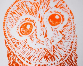 Mounted barn owl linocut print. Unique, hand printed. Ideal for a nursery or a bird, owl or nature lover!