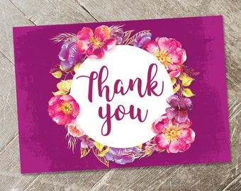 Gold and Pink Floral Thank You Card Printable, Boho Chic Rustic Printable Thank You Card, Fuchsia Floral Thank You, DIY Thank You Card