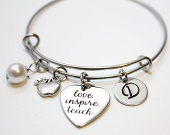 teacher bracelet, teacher jewelry, teacher gift, teacher theme bracelet, teacher charm bracelet, teacher theme bangle,teacher theme bracelet