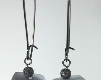 Recycled Glass Lavender Gray Rustic Oxidized Stardust Silver Textured Wavy Disc Drop Earrings
