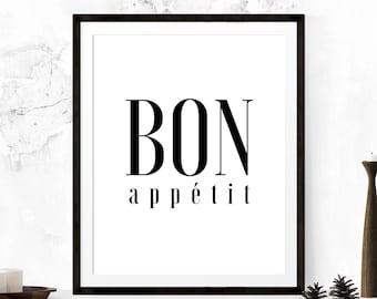 Guten Appetit Französisch guten appetit küche druck esszimmer affiche scandinave
