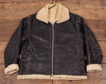 """Mens Vintage 60s Sheepskin Leather B-3 Fur Lined Flight Jacket Black L 44"""" R4537"""