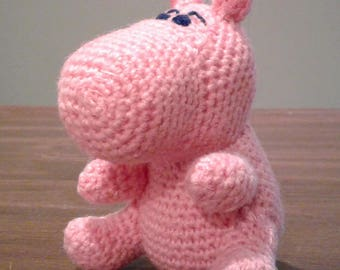 Amigurumi PINK HIPPOPOTAMUS, stuffed toy hippo, crochet hippo, amigurumi animal, crochet animal, stuffed toy, crochet toy