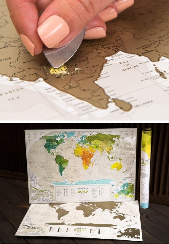 Wedding Gifts For Couples Who Like To Travel : Unique Wedding Gift for Couple Scratch off Travel Map by TheMapLab