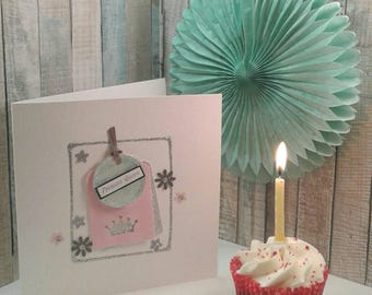 BIRTHDAY CARD/ PROSECCO Queen/ Handmade Card/ Personalised/ Flowers/Crown