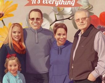 Custom Family Portrait, digital painting, only digital file.