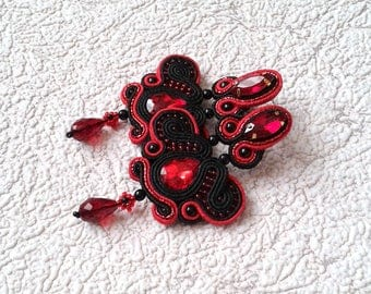 Soutache Earrings  black and red colors- Soutache earrings  -  Handmade Earrings. Long earrings