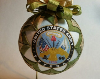 U.S. Army Veteran Ornament, Army Veteran Keepsake, Quilted Military Ornament