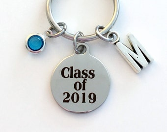 Class of 2019 Key Chain, or 2017 2018 2020 2016 Grad KeyChain, Gift for Graduate Graduation Keyring Birthstone Initial High School College