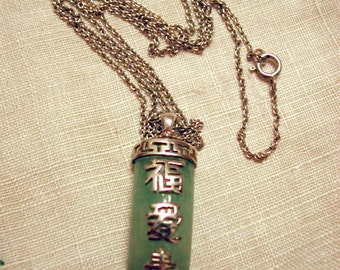 Pretty Sterling Necklace with Chinese Characters on Jade Green Pendant