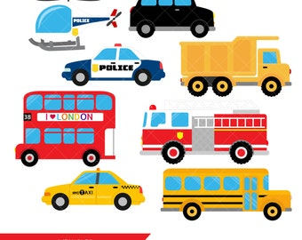 Transportation Clipart / Vehicles Clip Art / Taxi / Bus / Fire Engine / Helicopter