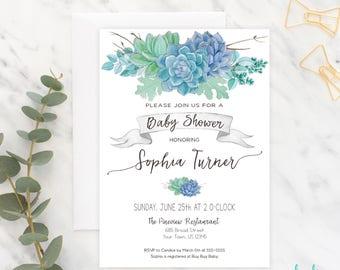 Succulent Baby Shower Invitation, Baby Shower Invite, Shower Invitation, Printable, Succulents, Boho Baby Shower, Boy, Gender Neutral