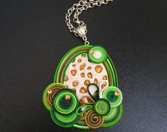 Green Fantasy, Spring Green Pendant, Polymer Clay Jewelry, Unique Jewellery, Pendant for Women, Swarovski Crystals, Green, White, Gold
