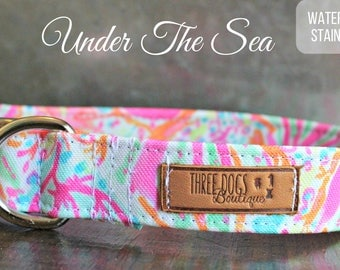 "Canvas Deluxe Dog Collar ""Under The Sea"" Stain resistant