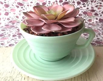 Hazel Atlas mint green moderntone platonite cup and saucer