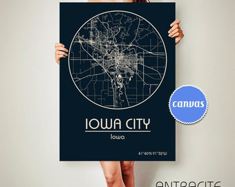 IOWA CITY Iowa CANVAS Map Iowa City Iowa Poster City Map Iowa City Iowa Art Print Iowa City Iowa poster Iowa City Iowa map art Poster