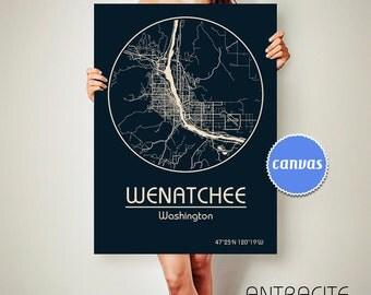 WENATCHEE Washington CANVAS Map Wenatchee Washington Poster City Map Wenatchee Washington Art Print Wenatchee Washington