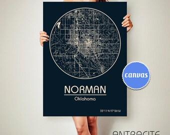 NORMAN Oklahoma CANVAS Map Norman Oklahoma Poster City Map Norman Oklahoma Art Print Norman Oklahoma poster Norman Oklahoma map