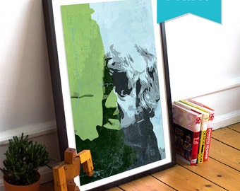 Doctor Who Third Doctor Jon Pertwee Illustration Large Print Giclee on Satin or Cotton Canvas Retro Dr Who Geekery Wall Decor Sci Fi Poster