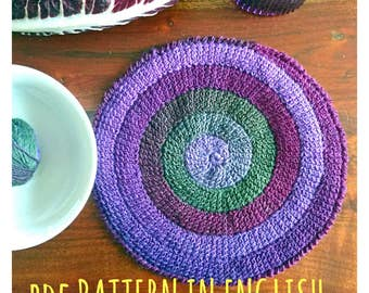 Crochet PATTERN spiral round placemat Tunisian stitch, table decor purple violet green colours, home design wool beautiful effect download