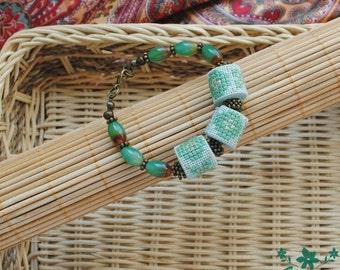 Green bracelet agate jewelry gemstone bracelet boho jewelry Unique gift for women Fabric bracelet embroidered jewelry ethnic jewelry gift