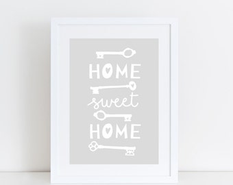 Home Sweet Home Print Housewarming Gift Home Quote Print New Home Gift Typographic Print Home Decor Wall Quote