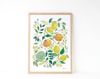 Lemon Illustracion: Lemon print , kitchen decor idea, yellow kitchen decor,  housewarming gift, lemon watercolor paint.