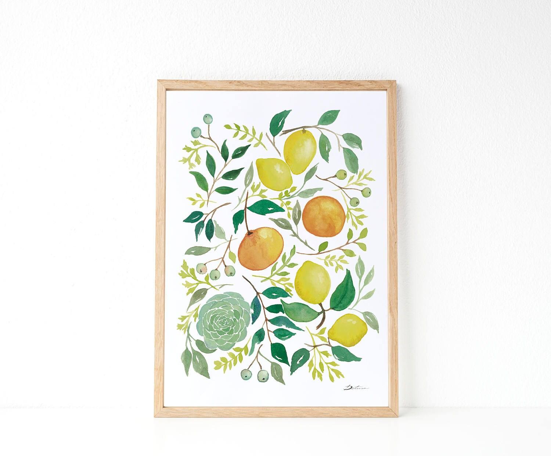 Lemon Illustracion Lemon Print Kitchen Decor Idea Yellow