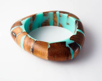 Turquoise Resin and Australian Blackwood Bangle; Reclaimed Wood an Resin Baangle