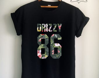Drake Shirt DRIZZY 86 T Shirt Drake T Shirt Drake Merch Print on Front or Back Unisex Women Girls Men Floral Top Tee Jersey White/Black/Grey
