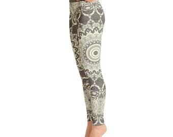 High Waist Mandala Yoga Pants in Cream and Brown - Womens Printed Leggings, Stretchy Yoga Pants, Fashion Leggings