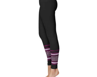 Black Yoga Pants - Pink Floral Striped Leggings Tights for Women, Flower Ankle Pattern Black Leggings