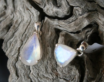 Faceted Rainbow Moonstone Pendant, Pear cut, Trillion, Blue Flash, Sterling Silver
