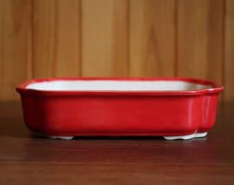 Scalloped rectangular bonsai pot in glossy bright red