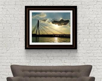 Sunset photography - Landscape Photography - Bridge - Latvia Photograph - Original Fine Art - Digital Download - Riga Latvia