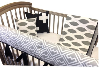 Ikats Crib Bedding with Rail Guards- 4 Piece set- Gray Black