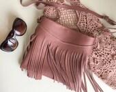 Pink Leather Bag,Fringe Leather Purse,Pink Leather Crossbody Bag,Boho Fringe Messenger Bag,Fringe Leather Bag,Powder Pink Leather Bag